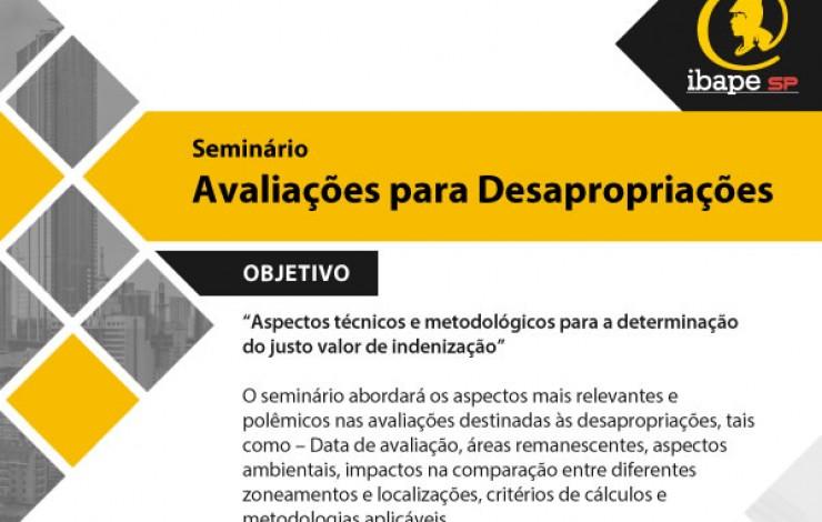 IBAPE São Paulo realiza Seminário de Avaliações para Desapropriações em 16 de maio!