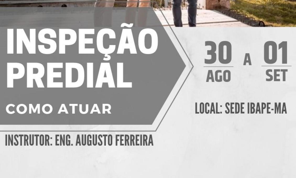 CURSO DE INSPEÇÃO PREDIAL - COMO ATUAR, DE 30/08 a 01/09 DE 2019